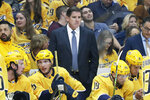 FILE - In this Oct. 8, 2019, file photo, Nashville Predators head coach Peter Laviolette watches the action in an NHL hockey game against the San Jose Sharks, in Nashville, Tenn. Mike Babcock and Laviolette are among the six coaches already fired this season in the NHL. (AP Photo/Mark Humphrey, File)