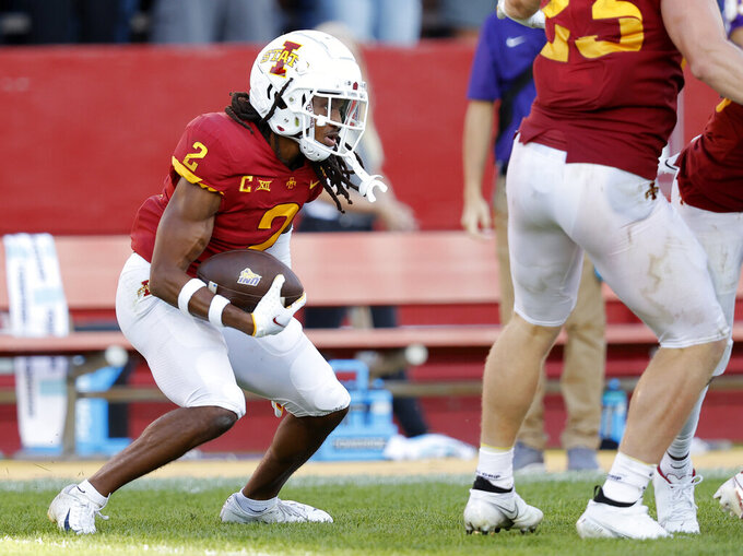 Iowa State defensive back Datrone Young (2) runs back an interception during the second half of an NCAA college football game against Northern Iowa, Saturday, Sept. 4, 2021, in Ames, Iowa. Iowa State won 16-10. (AP Photo/Matthew Putney)
