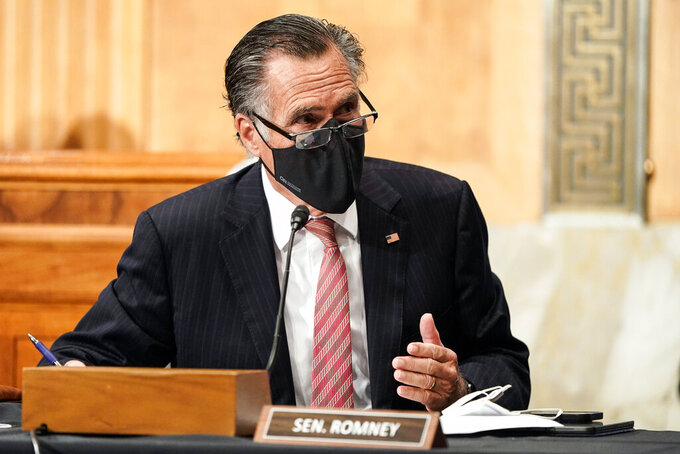 Sen. Mitt Romney, R-Utah, questions Homeland Security Secretary nominee Alejandro Mayorkas during his confirmation hearing in the Senate Homeland Security and Governmental Affairs Committee on Tuesday, Jan. 19, 2021, on Capitol Hill in Washington. (Joshua Roberts/Pool via AP)