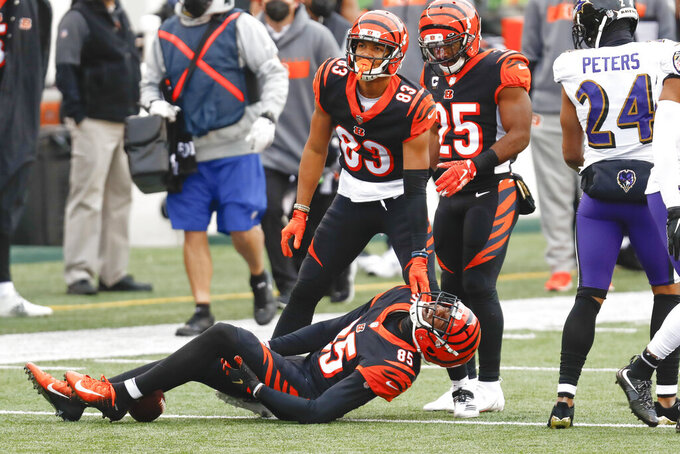Cincinnati Bengals wide receiver Tee Higgins (85) grabs his leg as teammates wide receiver Tyler Boyd (83) and running back Giovani Bernard (25) call for attention after he was injured during the first half of an NFL football game against the Baltimore Ravens, Sunday, Jan. 3, 2021, in Cincinnati. (AP Photo/Aaron Doster)