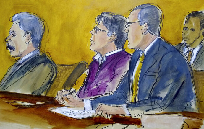 In this courtroom drawing, defendant Keith Raniere, center, sits at the defense table with his attorneys Paul DerOhannesian, left and Marc Agnifilo, as the jury foreperson reads the guilty verdict in his sex trafficking trial in New York, Wednesday, June 19, 2019. The former leader of a cult-like self-help group was convicted Wednesday of manipulating his female followers through shame and humiliation and turning them into what prosecutors call his sex slaves. The man at rear is a Deputy US Marshal. (Elizabeth Williams via AP)