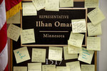 People leave post-it notes of support outside the office of Rep. Ilhan Omar, D-Minn., on Capitol Hill, Monday, Feb. 11, 2019, in Washington. Omar has