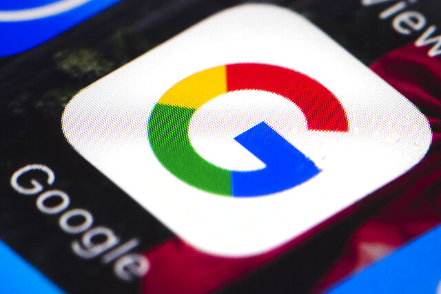 FILE - This April 26, 2017, file photo shows the Google mobile phone icon, in Philadelphia. The Australian government said on Friday, July 31, 2020 it plans to give Google and Facebook three months to negotiate with Australian media businesses fair pay for news content. (AP Photo/Matt Rourke, File)