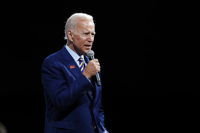 FILE - In this Aug. 10, 2019, file photo, Democratic presidential candidate former Vice President Joe Biden speaks in Des Moines, Iowa. (AP Photo/Charlie Neibergall, File)