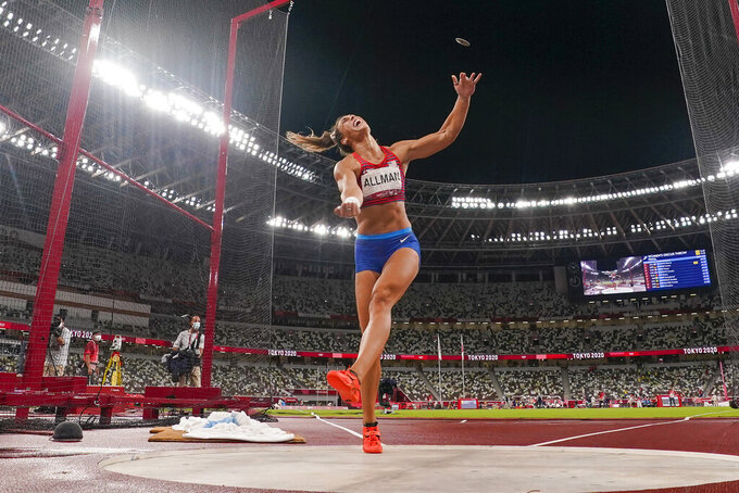 Valarie Allman, of the United States, wins the gold medal in the women's discus throw final at the 2020 Summer Olympics, Monday, Aug. 2, 2021, in Tokyo. (AP Photo/David J. Phillip)