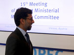 Minister of Energy of the United Arab Emirates, UAE, Suhail Mohamed Al Mazrouei, arrives for a meeting of the Organization of the Petroleum Exporting Countries, OPEC, and non OPEC members at their headquarters in Vienna, Austria, Monday, July 1, 2019. (AP Photo/Ronald Zak)