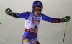 Slovakia's Petra Vlhova celebrates after winning the women's giant slalom, at the alpine ski World Championships in Are, Sweden, Thursday, Feb. 14, 2019. (AP Photo/AlessandroTrovati)