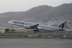 In this Sept. 9, 2021, photo, a Qatar Airways aircraft takes off with foreigners from the airport in Kabul, Afghanistan. U.S. veterans, lawmakers and others say the relaunch of evacuation flights from Kabul has done little to soothe fears that the U.S. might abandon countless Afghan allies who risked their lives working alongside American troops.  (AP Photo/Bernat Armangue)
