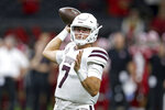 Mississippi State quarterback Tommy Stevens (7) throws in the second quarter of an NCAA college football game against Louisiana-Lafayette in New Orleans, Saturday, Aug. 31, 2019. (AP Photo/Chuck Cook)
