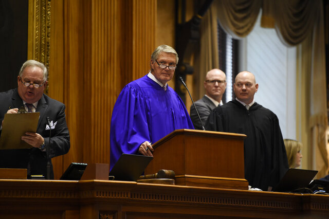 Senate President Harvey Peeler, R-Gaffney, presides over the opening day of South Carolina's 2020 legislative session on Tuesday, Jan. 14, 2020, in Columbia, S.C. (AP Photo/Meg Kinnard)