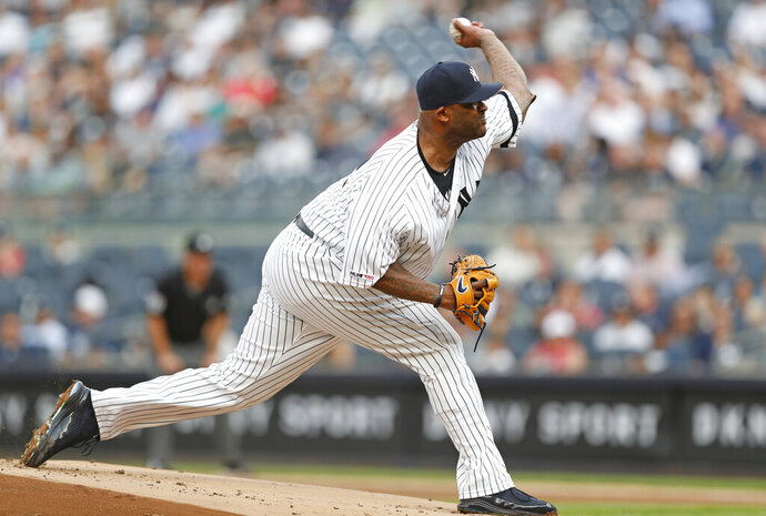 New York Yankees starting pitcher CC Sabathia delivers during the first inning of a baseball game against the Toronto Blue Jays, Monday, June 24, 2019, in New York. (AP Photo/Kathy Willens)
