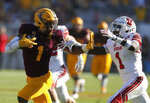 Arizona State wide receiver N'Keal Harry (1) fends off Utah defensive back Jaylon Johnson in the second half of an NCAA college football game, Saturday, Nov. 3, 2018, in Tempe, Ariz. (AP Photo/Rick Scuteri)
