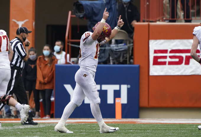 Iowa State quarterback Brock Purdy (15) celebrates after a touchdown against Texas during the second half of an NCAA college football game, Friday, Nov. 27, 2020, in Austin, Texas. (AP Photo/Eric Gay)