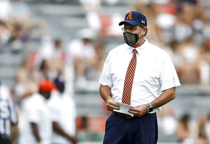 Auburn head coach Gus Malzahn before the start of an NCAA college football game against Kentucky on Saturday, Sept. 26, 2020 in Auburn, Alabama. (AP Photo/Butch Dill)