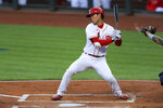 Cincinnati Reds' Shogo Akiyama reacts to a pitch as he bats in the first inning during a baseball game against the Milwaukee Brewers in Cincinnati, Monday, Sept. 21, 2020. (AP Photo/Aaron Doster)