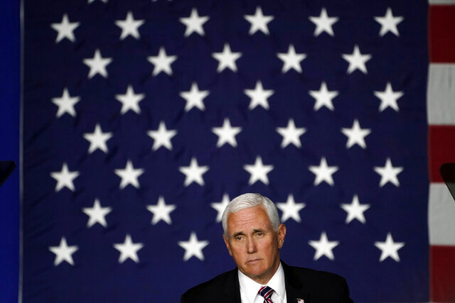 Vice President Mike Pence speaks at a campaign rally, Tuesday, Sept. 22, 2020, at Lanconia Municipal Airport in Gilford, N.H. (AP Photo/Robert F. Bukaty)