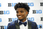 Maryland defensive back Tino Ellis smiles as he answers a question during the Big Ten Conference NCAA college football media days Thursday, July 18, 2019, in Chicago. (AP Photo/Charles Rex Arbogast)