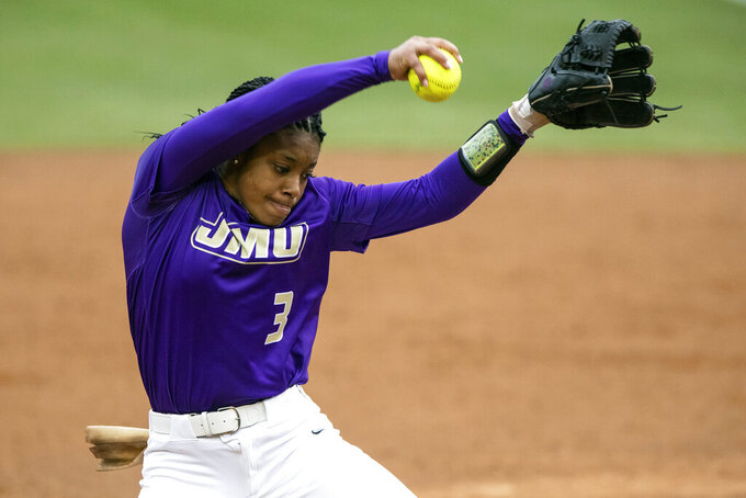 FILE - In this April 6, 2019, file photo, James Madison's Odicci Alexander (3) pitches during an NCAA softball game in Chapel Hill, N.C. Alexander will continue her incredible summer by making her debut in the Athletes Unlimited professional softball league on Saturday, Aug. 28, 2021. (AP Photo/Ben McKeown, File)