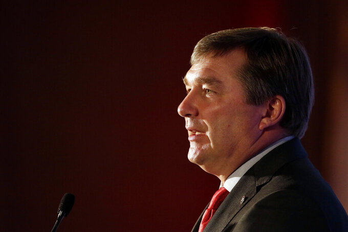 Georgia head coach Kirby Smart speaks to reporters during the NCAA college football Southeastern Conference Media Days, Tuesday, July 20, 2021, in Hoover, Ala. (AP Photo/Butch Dill)