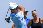 Rickie Fowler tees off on the ninth hole during the third round of the 3M Open golf tournament in Blaine, Minn., Saturday, July 24, 2021. (AP Photo/Craig Lassig)