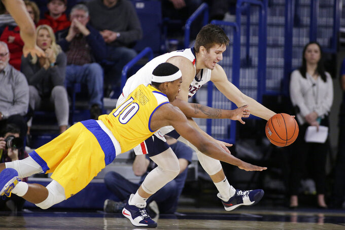 Cal State Bakersfield guard Justin Edler-Davis (10) and Gonzaga forward Filip Petrusev go after the ball during the first half of an NCAA college basketball game in Spokane, Wash., Monday, Dec. 31, 2018. (AP Photo/Young Kwak)