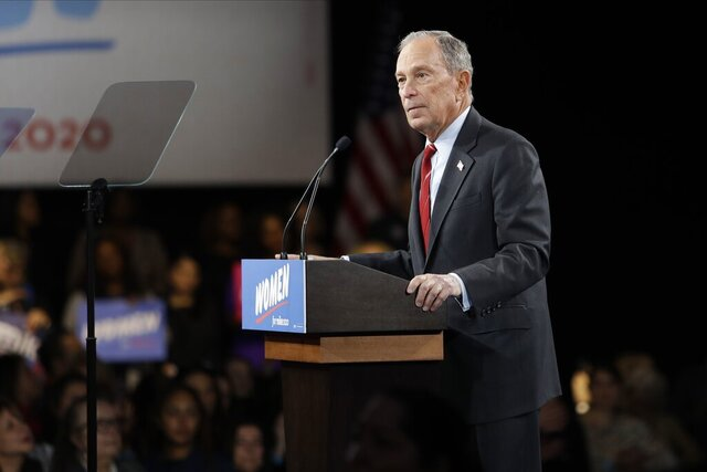 Democratic presidential candidate Michael Bloomberg speaks to supporters Wednesday, Jan. 15, 2020, in New York. (AP Photo/Frank Franklin II)