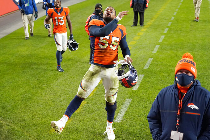 Denver Broncos outside linebacker Bradley Chubb (55) celebrates after an NFL football game against the Miami Dolphins, Sunday, Nov. 22, 2020, in Denver. The Broncos won 20-13. (AP Photo/Jack Dempsey)