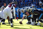 The Carolina Panthers offense lines up against the Atlanta Falcons during the first half of an NFL football game in Charlotte, N.C., Sunday, Nov. 17, 2019. (AP Photo/Brian Blanco)