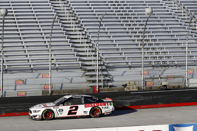 Brad Keselowski (2) drives during a NASCAR Cup Series auto race at Bristol Motor Speedway Sunday, May 31, 2020, in Bristol, Tenn. Keselowski won the race. (AP Photo/Mark Humphrey)