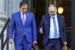 Alfredo Ortiz, left, president and CEO of the Job Creators Network, and Howard Kleinhendler, Job Creators Network attorney, leave court Thursday, June 10, 2021, in New York. A Manhattan judge has rejected an attempt to force Major League Baseball to return next month's All-Star Game to Atlanta. U.S. District Judge Valerie E. Carponi ruled against Job Creators Network, saying a lawsuit had failed to provide proof that its members have suffered any injuries by the decision to move the game. (AP Photo/Mary Altaffer)