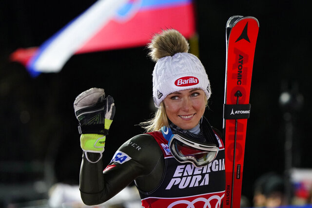 United States' Mikaela Shiffrin walks to the podium after taking second place in an alpine ski, women's World Cup slalom in Zagreb, Croatia, Saturday, Jan. 4, 2020. (AP Photo/Giovanni Auletta)