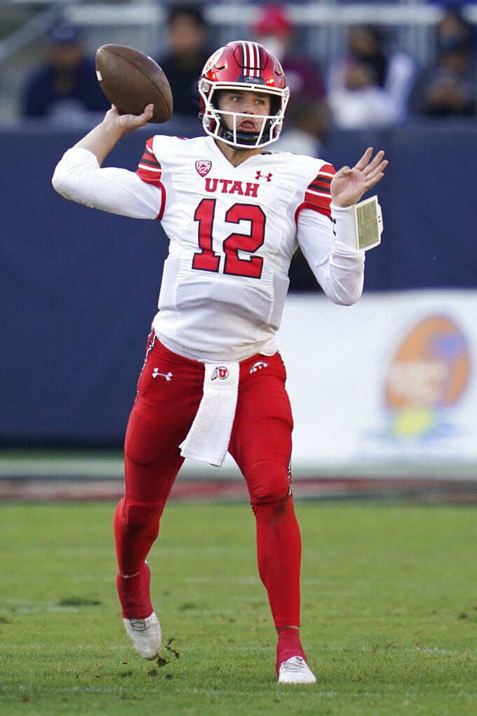 Utah quarterback Charlie Brewer (12) throws during the first half of an NCAA college football game against San Diego State Saturday, Sept. 18, 2021, in Carson, Calif. (AP Photo/Ashley Landis)
