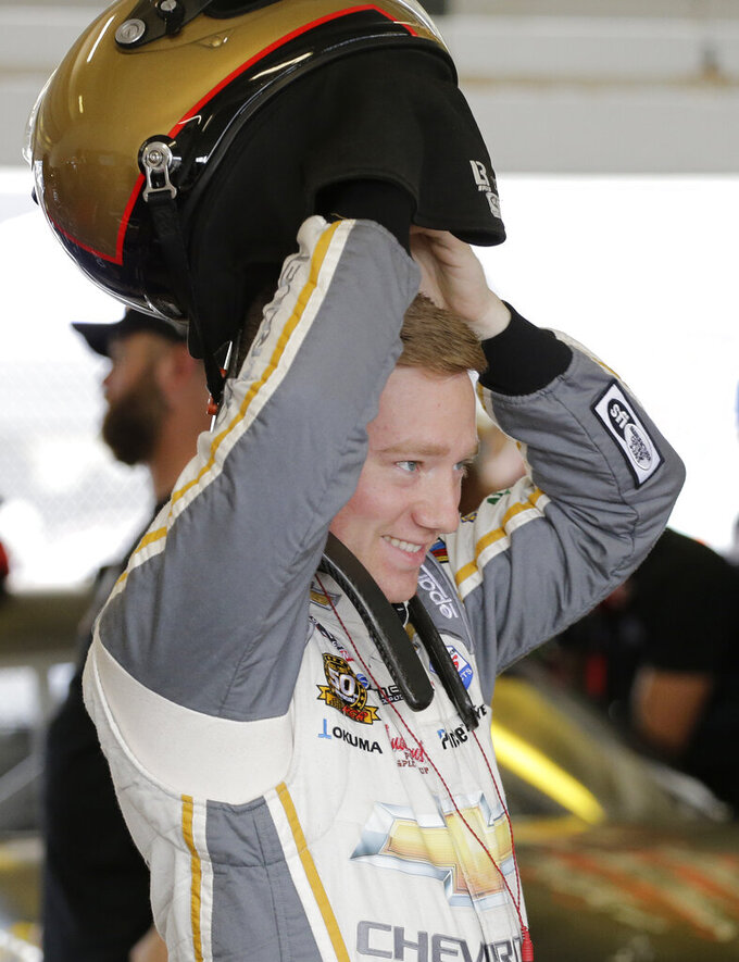 Tyler Reddick prepares for a NASCAR Xfinity Series auto race practice on Friday, Nov. 15, 2019, at Homestead-Miami Speedway in Homestead, Fla. Reddick is one of four drivers racing for the series championship. (AP Photo/Terry Renna)