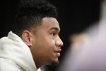 Alabama quarterback Tua Tagovailoa speaks during an NCAA college football news conference on Wednesday, Dec. 26, 2018, in Fort Lauderdale, Fla. Alabama plays Oklahoma in the Orange Bowl semifinal football game on Dec. 29. (AP Photo/Brynn Anderson)