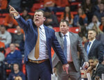 Illinois coach Brad Underwood yells during the first half of the team's NCAA college basketball game against Minnesota in Champaign, Ill., Wednesday, Jan. 16, 2019. (AP Photo/Rick Danzl)