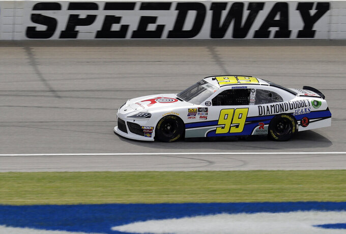 Tommy Joe Martins drives on the track during a NASCAR Xfinity Series auto race practice at Chicagoland Speedway in Joliet, Ill., Friday, June 28, 2019. (AP Photo/Nam Y. Huh)