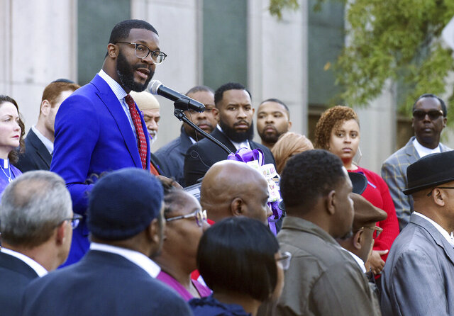 FILE - In this Wednesday, Oct. 23, 2019, file photo, Birmingham Mayor Randall Woodfin speaks at a candlelight vigil in Birmingham, Ala. Woodfin is endorsing Joe Biden for the 2020 Democratic Party nomination just weeks after the vice president met with a group of Southern black mayors representing millions of voters in key early primary states. (Joe Songer/The Birmingham News via AP, File)
