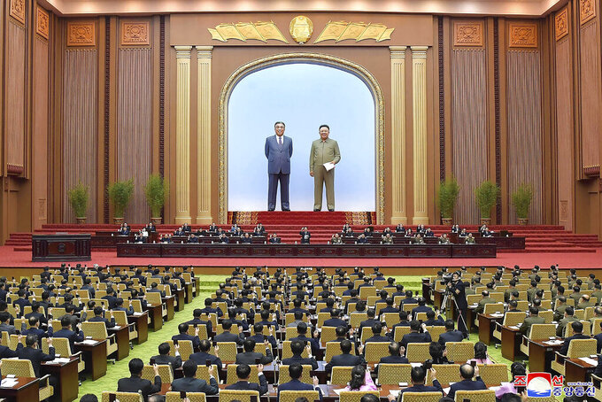 """FILE - In this Jan. 17, 2021, file photo provided by the North Korean government, members of the Supreme People's Assembly attend a meeting in Pyongyang, North Korea, The North's official Korean Central News Agency said Thursday, Aug. 26, 2021, the Supreme People's Assembly will meet on Sept. 28 in Pyongyang to discuss economic development, youth education, government organizational matters and other issues. Korean language watermark on image as provided by source reads: """"KCNA"""" which is the abbreviation for Korean Central News Agency. (Korean Central News Agency/Korea News Service via AP)"""