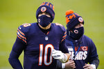 Chicago Bears quarterback Mitchell Trubisky (10) walks off the field following a 34-30 loss to the Detroit Lions in an NFL football game in Chicago, Sunday, Dec. 6, 2020. (AP Photo/Nam Y. Huh)