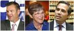 FILE - This combination of file photos shows Kansas gubernatorial candidates from left: Republican Secretary of State Kris Kobach; Democratic state Sen. Laura Kelly; and Independent candidate, businessmen Greg Orman, who are running in the November 2018 election. Democrats horrified by the thought that provocative conservative Kobach could be Kansas' next governor are attacking Orman, a Kansas City-area businessman running as an independent. (Thad Allton/The Topeka Capital-Journal via AP, File)