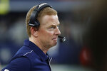 Dallas Cowboys head coach Jason Garrett watches from the sidelines in the first quarter of an NFL football game against the Los Angeles Rams in Arlington, Texas, Sunday, Dec. 15, 2019. (AP Photo/Roger Steinman)