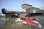 A bar with a patio lays in ruins after the passing of Hurricane Pamela in Mazatlan, Mexico, Wednesday, Oct. 13, 2021. Hurricane Pamela made landfall on Mexico's Pacific coast just north of Mazatlan on Wednesday, bringing high winds and rain to the port city. (AP Photo/Roberto Echeagaray)