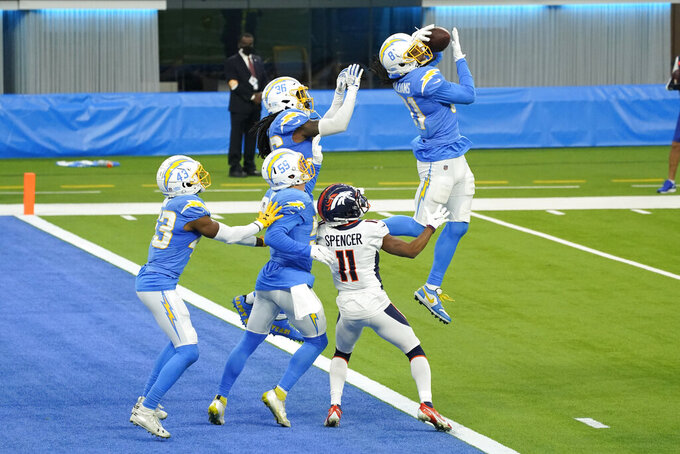 Los Angeles Chargers wide receiver Mike Williams, right, intercepts a pass in the end zone on the last play of an NFL football game against the Denver Broncos Sunday, Dec. 27, 2020, in Inglewood, Calif. (AP Photo/Ashley Landis )