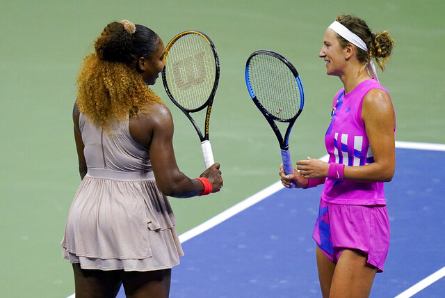 Victoria Azarenka, of Belarus, right, greets Serena Williams, of the United States, after winning their semifinal match of the US Open tennis championships, Thursday, Sept. 10, 2020, in New York. (AP Photo/Seth Wenig)