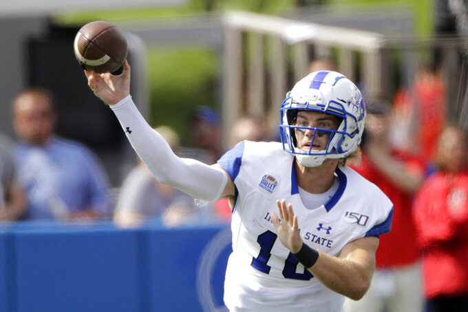 Indiana State quarterback Ryan Boyle (10) passes during the first half of an NCAA college football game against Kansas, Saturday, Aug. 31, 2019, in Lawrence, Kan. (AP Photo/Charlie Riedel)