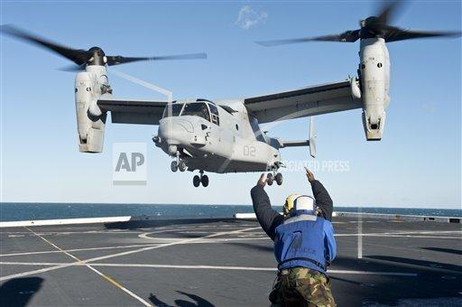 Creative AP Photo/Stocktrek Images A Military   horizontal Aviation Boatswain's Mate signals an MV-22 Osprey for liftoff.