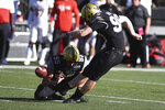 Vanderbilt kicker Ryley Guay makes a 48-yard field goal against UNLV in the first half of an NCAA college football game Saturday, Oct. 12, 2019, in Nashville, Tenn. (AP Photo/Mike Strasinger)