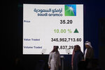 Saudi Arabia's state-owned oil company Armco and stock market officials walk under a screen displaying the value traded and the volume traded of Aramco's initial public offering (IPO) on the Riyadh's stock market, in Riyadh, Saudi Arabia, Wednesday, Dec. 11, 2019. (AP Photo/Amr Nabil)