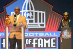 Donnie Shell, a member of the Pro Football Hall of Fame Centennial Class, speaks during the induction ceremony at the Pro Football Hall of Fame, Saturday, Aug. 7, 2021, in Canton, Ohio. (AP Photo/David Richard)