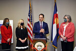 Colorado Attorney General Phil Weiser speaks during a press conference announcing the statewide allocation of settlement dollars from major opioid companies at the Ralph L. Carr Colorado Judicial Center on Thursday, Aug. 26, 2021 in Denver. (Eric Lutzens/The Denver Post via AP)